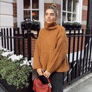 Free people turtleneck sweater in rust